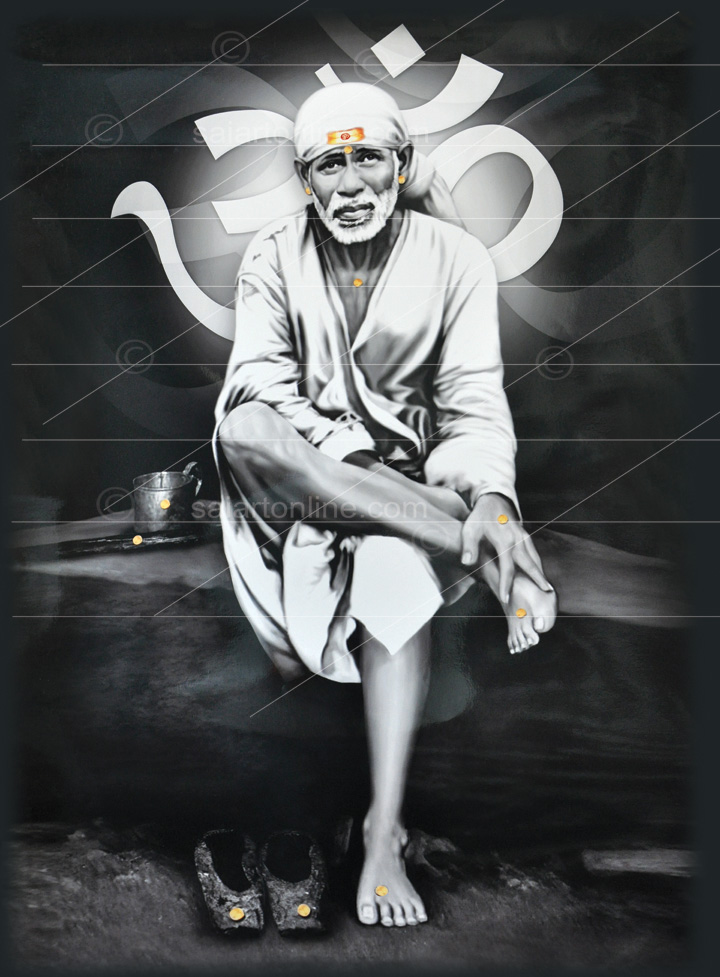 Lord Saibaba Sitting On Stone Wall Painting at best price ...