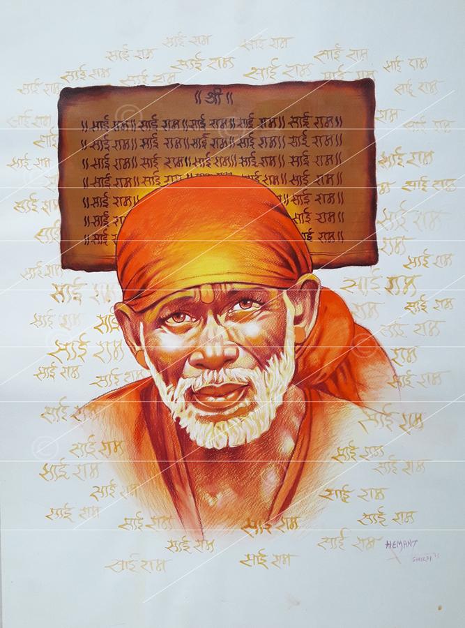 Saibaba colour pencil sketch - saiartgallery
