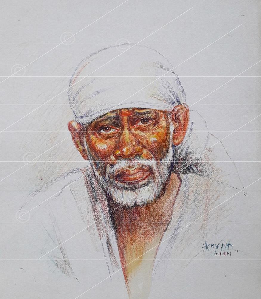 Saibaba colour pencil sketch